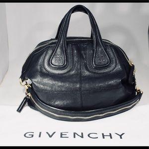Givenchy Black Leather Nightingale Medium Satchel